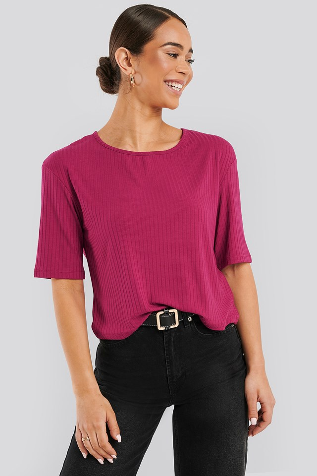 Round Neck Ribbed Tee Fuchsia