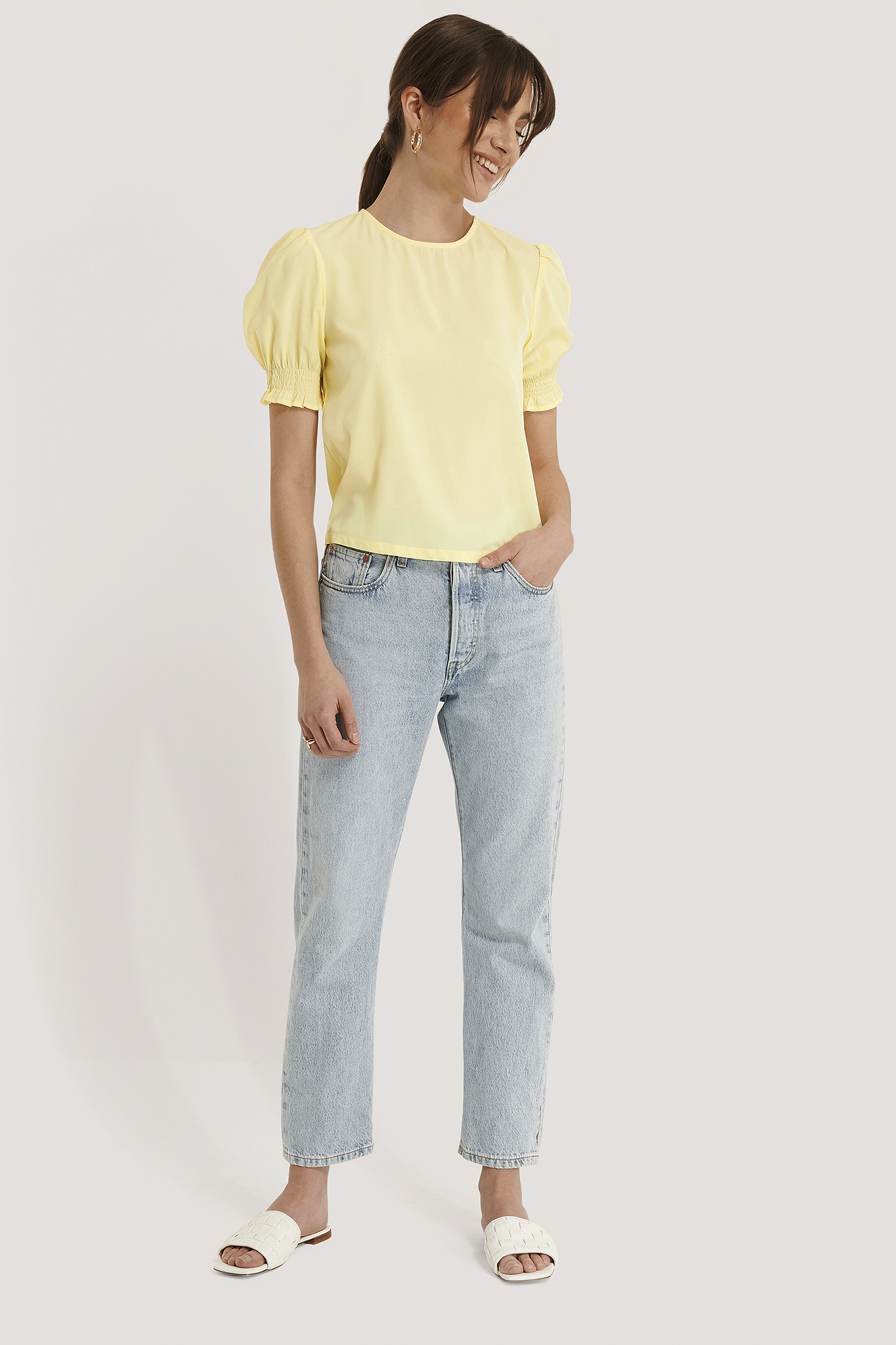 Light Yellow Round Neck Shirred Sleeve Top