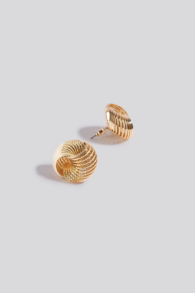 Round Spiral Earrings Gold