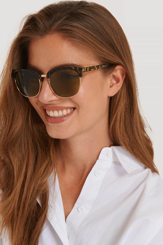 Tortois Rounded Over Frame Sunglasses