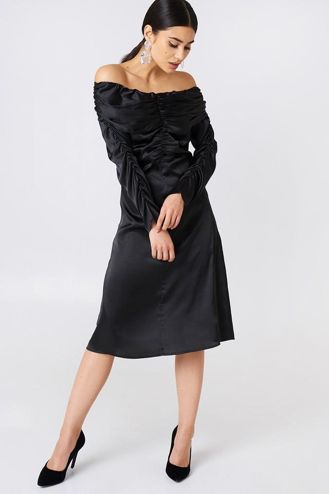Ruched Detail Off Shoulder Dress Black