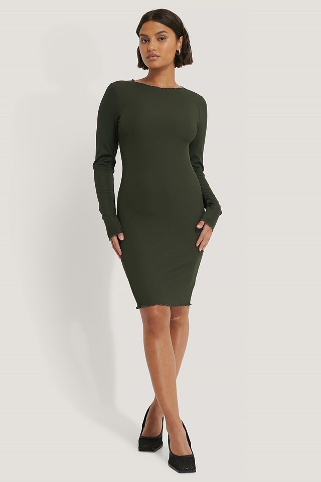 Ruffle Edge Rib Dress Dark Green