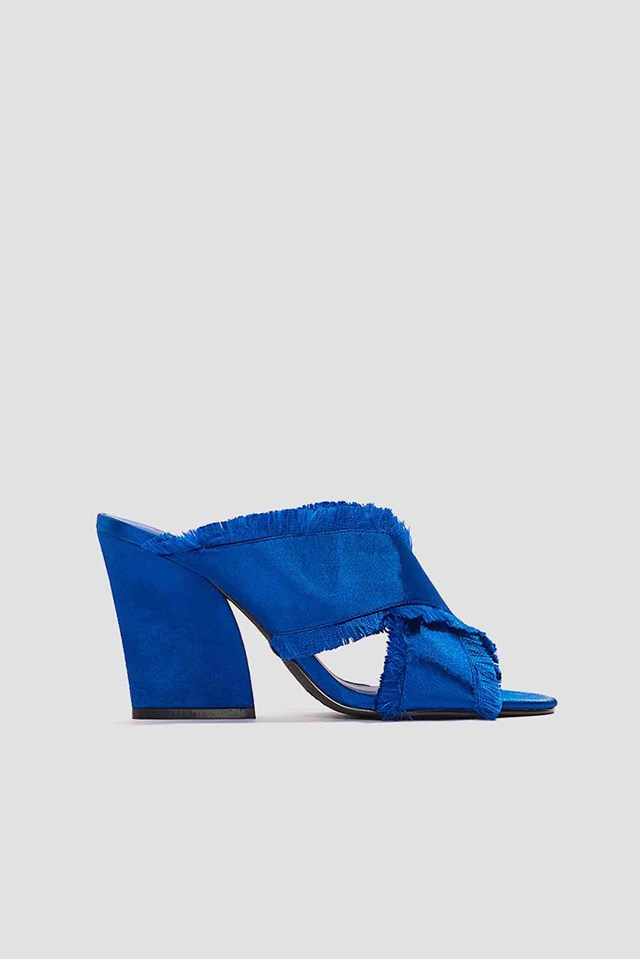 Satin Cross Mule Heels Cobalt