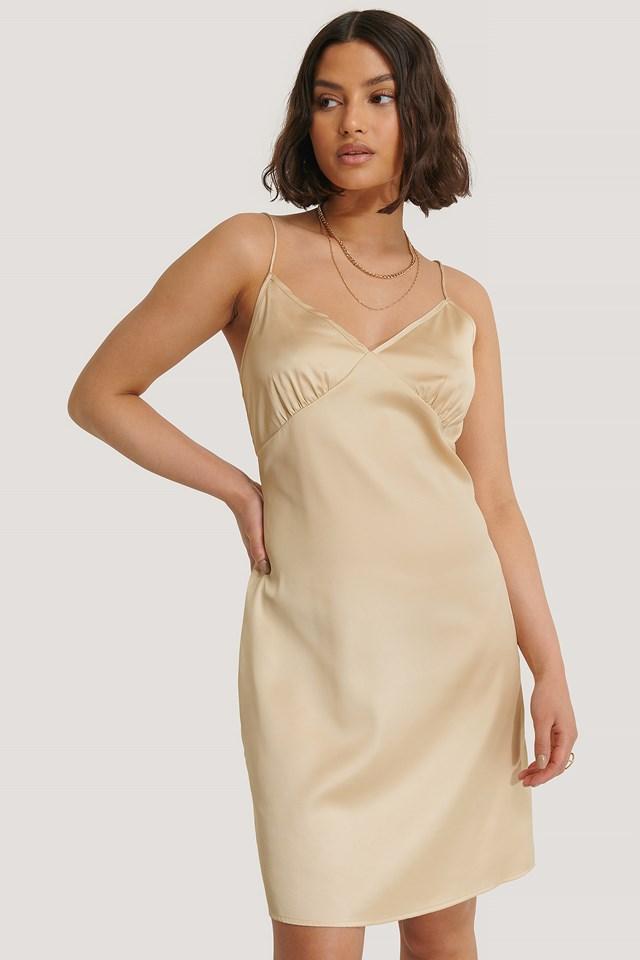 Satin Cup Shape Mini Dress Beige