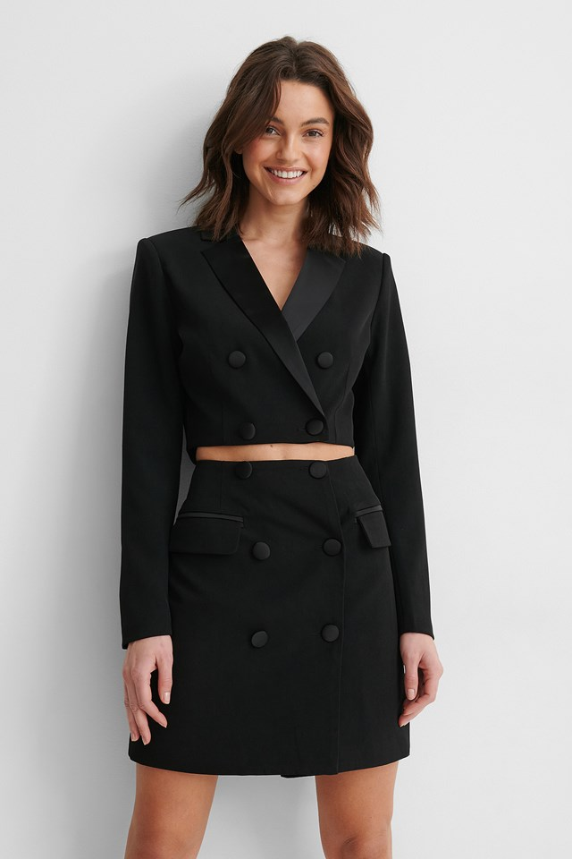 Satin Detail Cropped Blazer Black