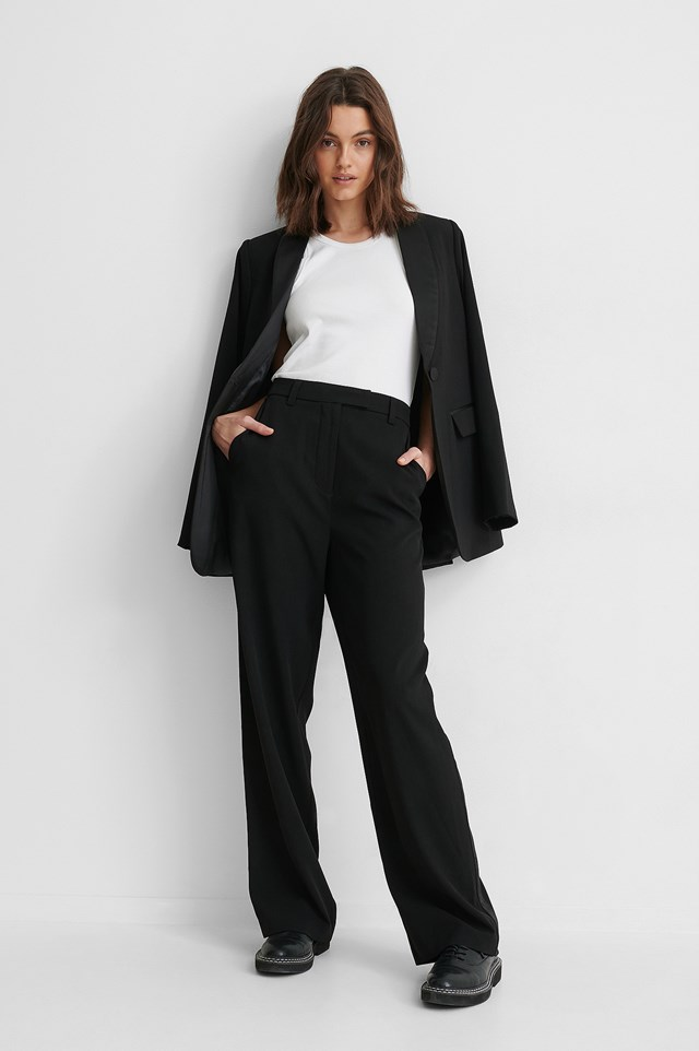 Satin Detail Suit Pants Black