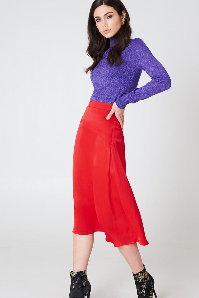 Satin Midi Skirt Red