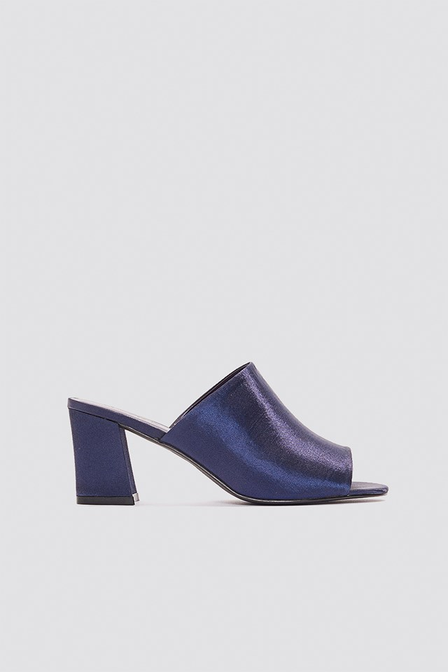 Satin Mule Heel Sandals Dark Blue