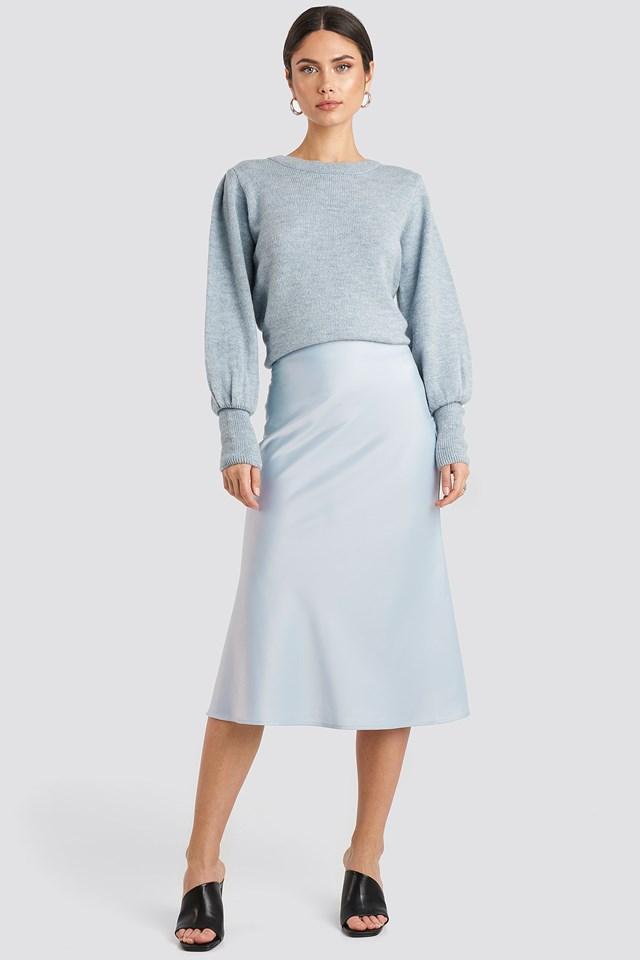 Satin Skirt Light Blue