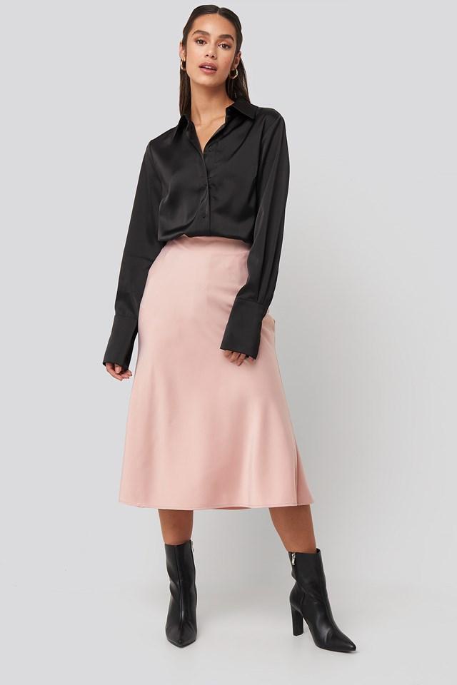 Satin Skirt Dusty Pink