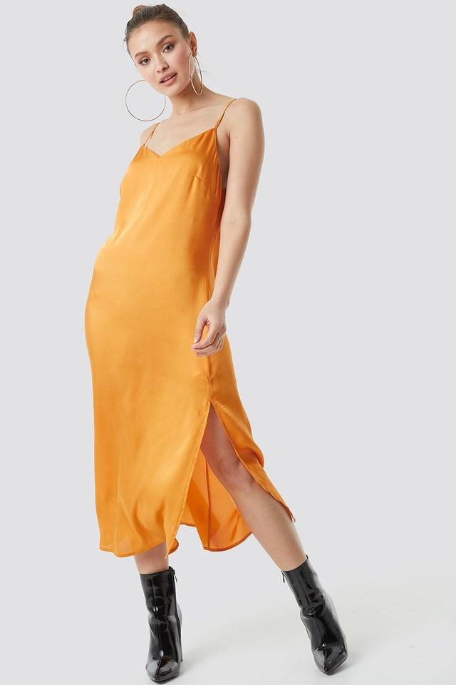 Satin Slip Dress Golden Yellow