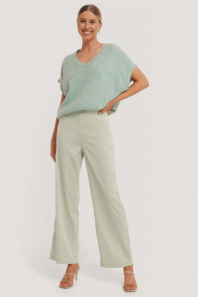 Mint Satin Suit Pants