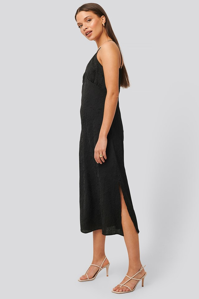 Satin Wrinkle Dress Black