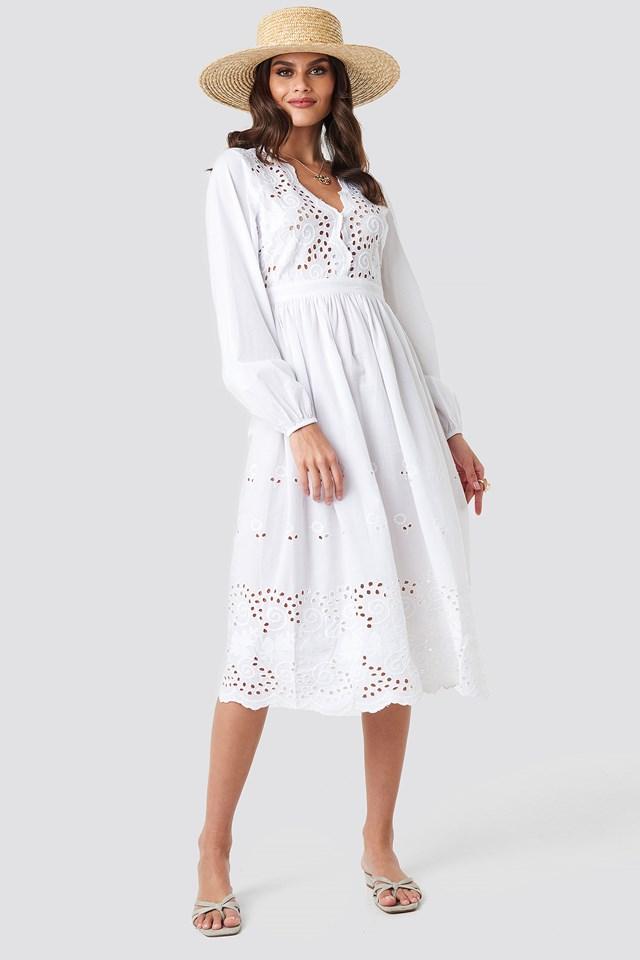 Scalloped Front Crochet Detail Dress White