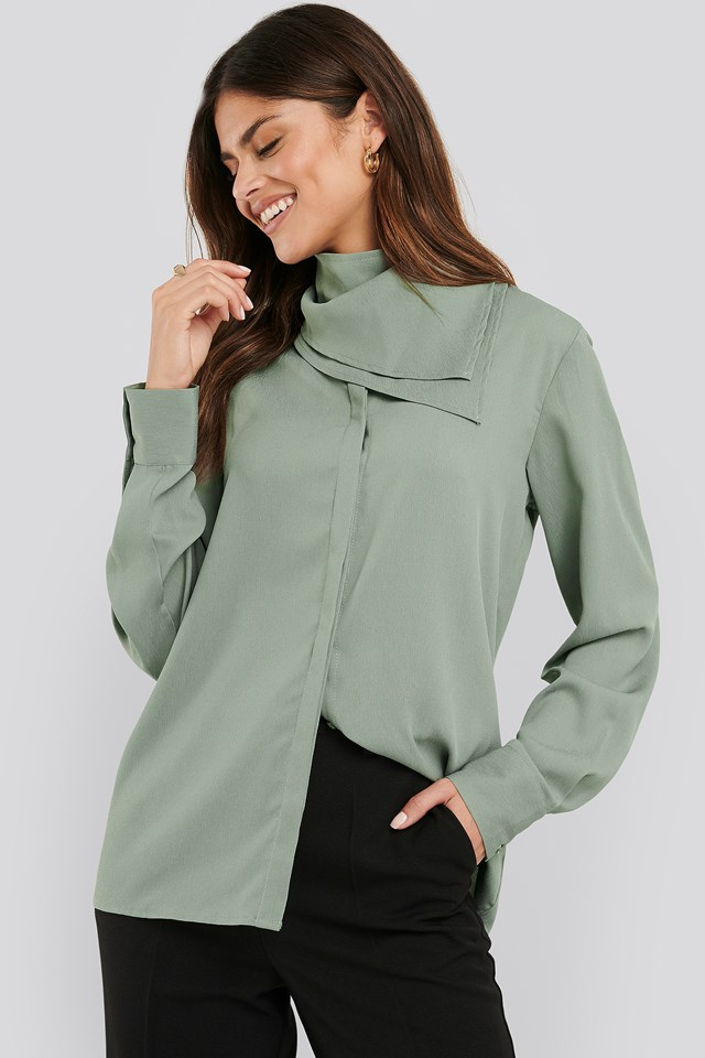 Scarf Detailed Blouse Dusty Green