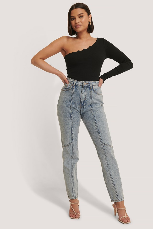 Seam Detail Slim Jeans Light Blue