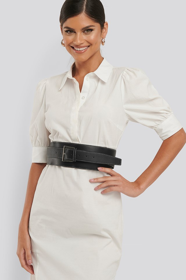 Seamline Layered Waist Belt Black