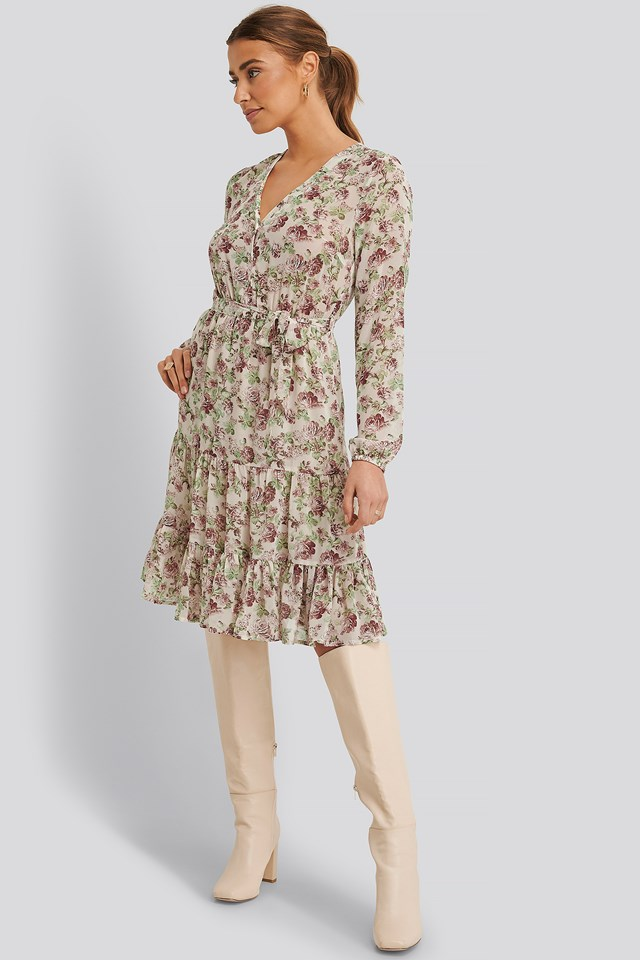 Cream Floral Self-Tie Printed Midi Dress