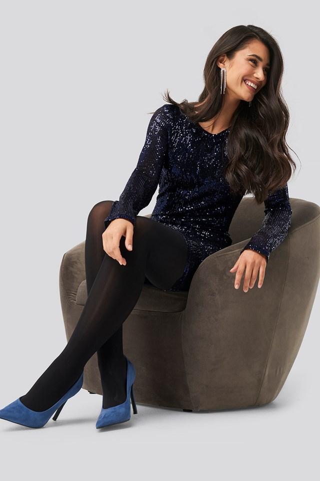 Sequin Round Neck Mini Dress Dark Blue