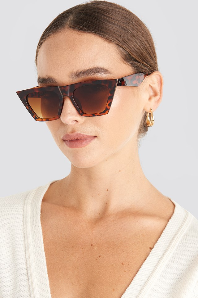 Sharp Square Cateye Sunglasses Tortoise