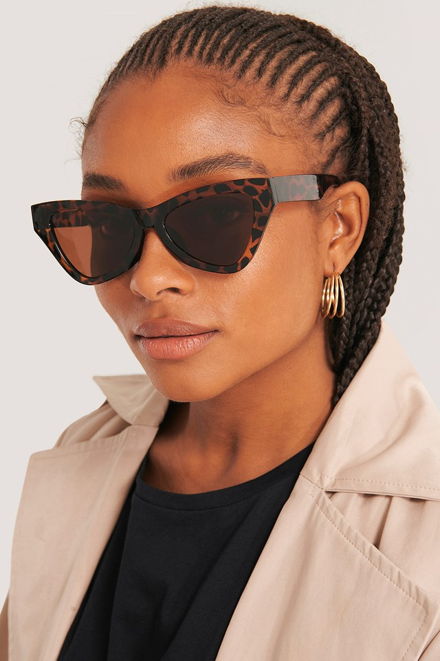 Sharp Triangular Cateye Sunglasses Tortois