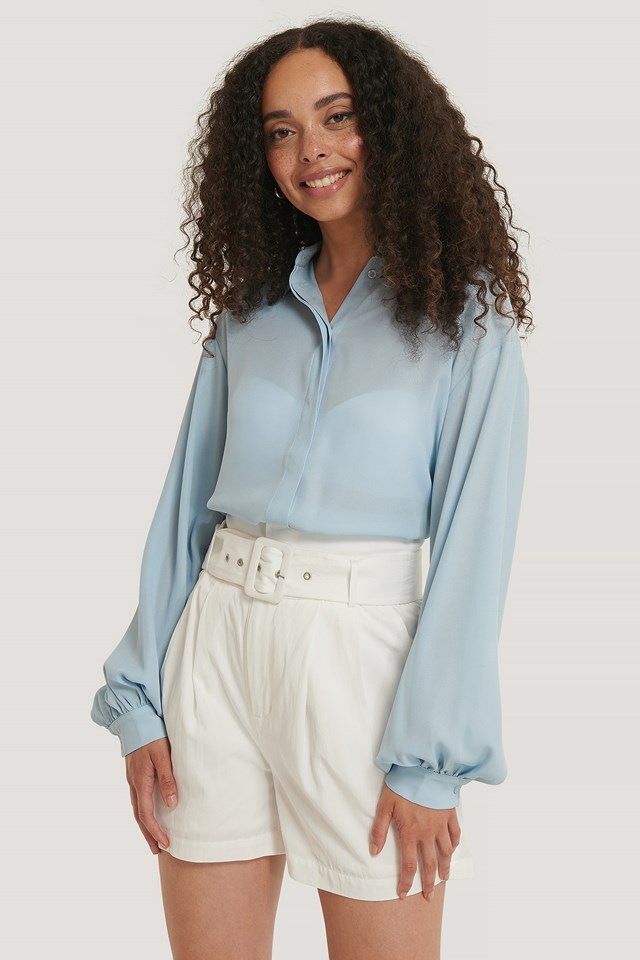 Sheer Balloon Sleeve Blouse Dusty Blue