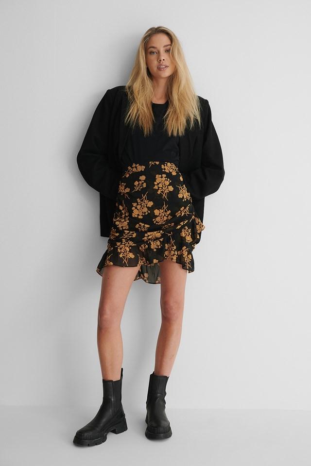 Orange Print Sheer Frill Mini Skirt