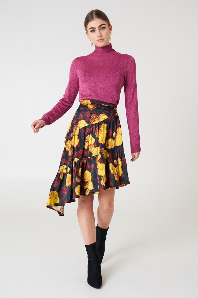 Shiny Asymmetric Skirt Yellow Flower
