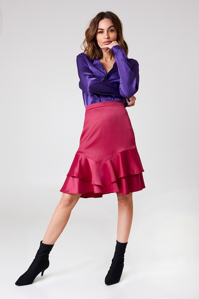 Dark Pink Shiny Frill Skirt