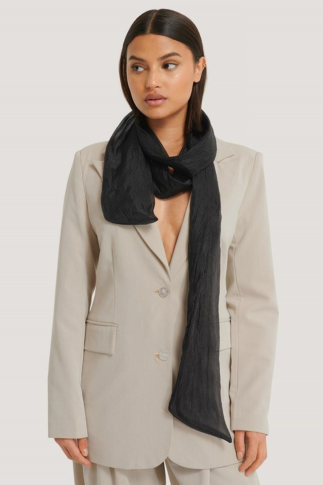 Shiny Slim Neck Scarf Black