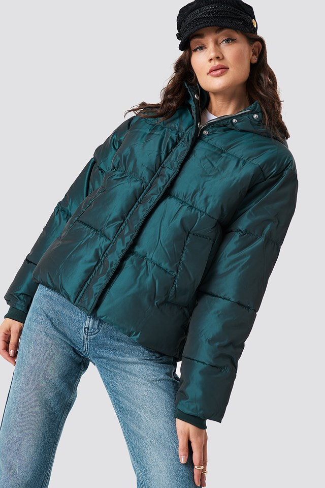 Shiny Padded Jacket Petrol
