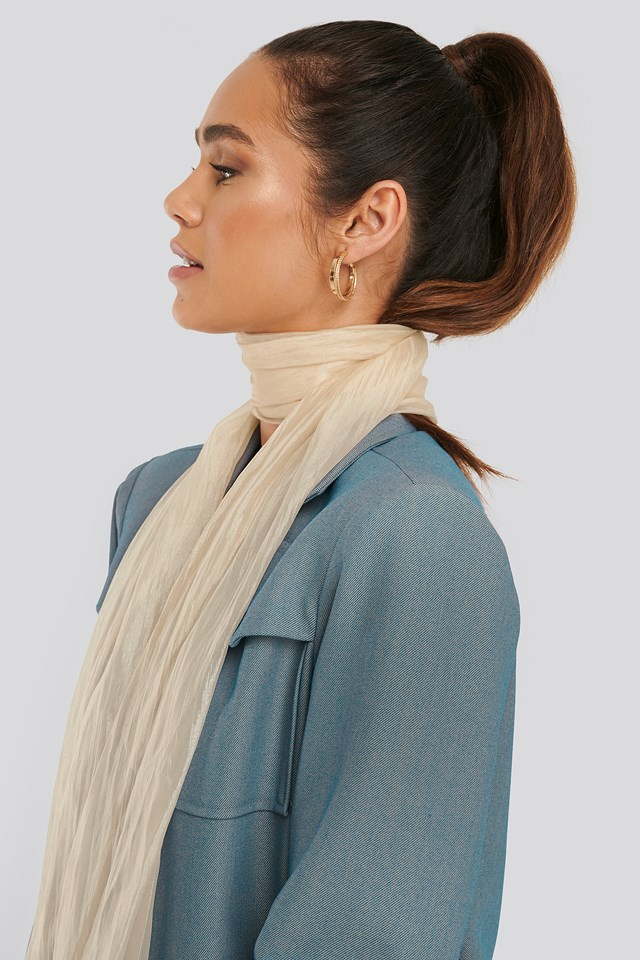 Shiny Slim Neck Scarf Cream