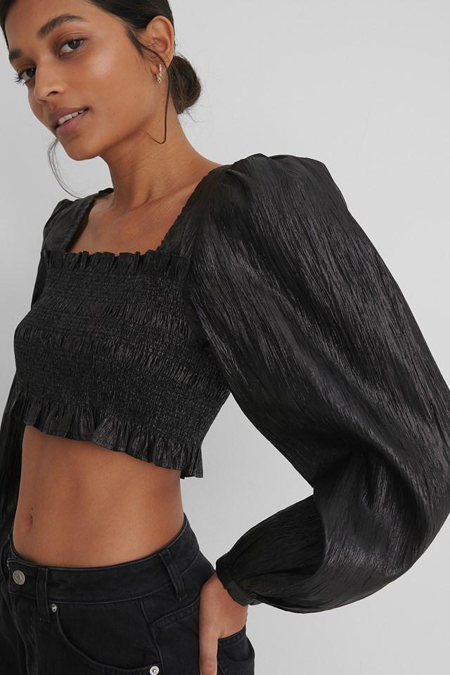 Black Shiny Smocked Cropped Top