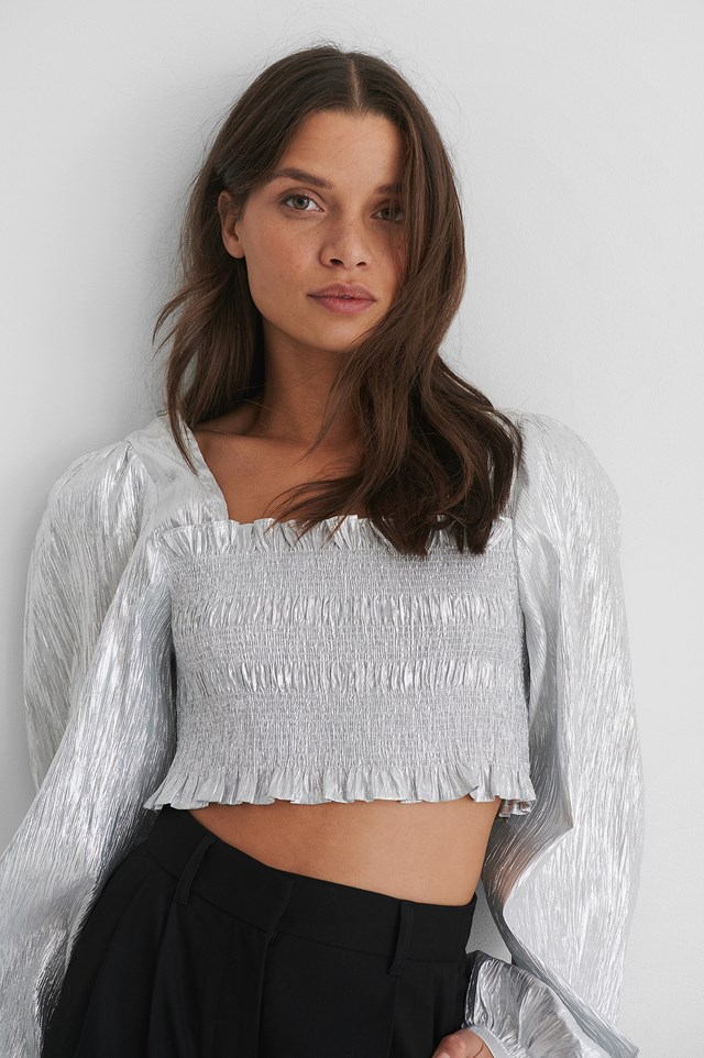 Silver Shiny Smocked Cropped Top