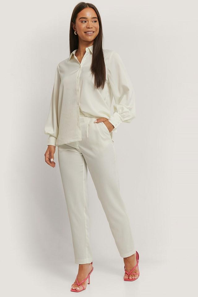 Shiny Tapered Pants White