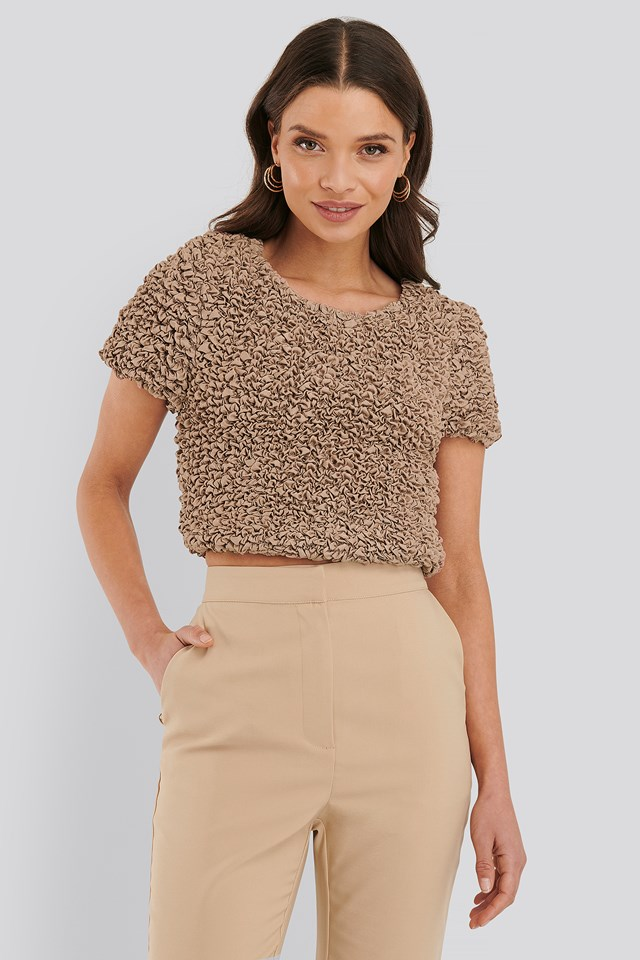 Shirred Cropped Top Nougat