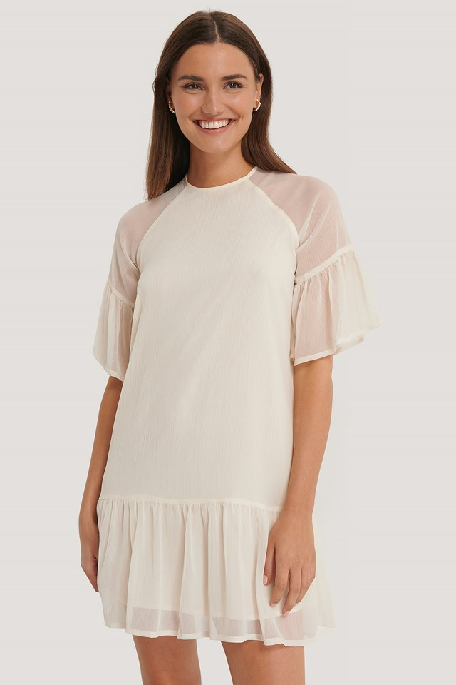 Cream Shirred Short Sleeve Dress