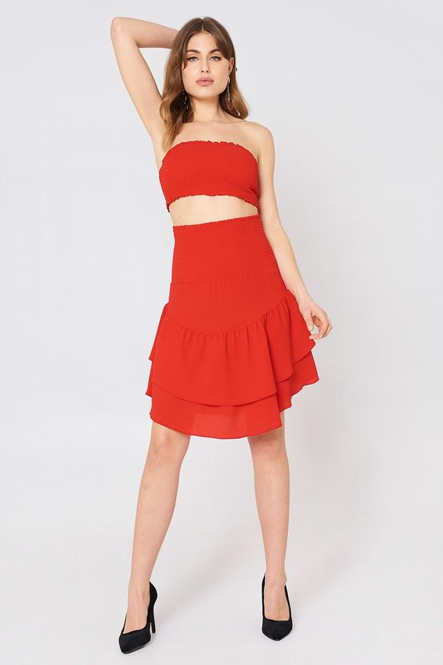 Shirred Part Flounce Skirt Cherry