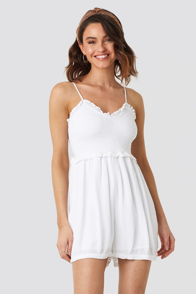 Shirred Part Strap Playsuit White