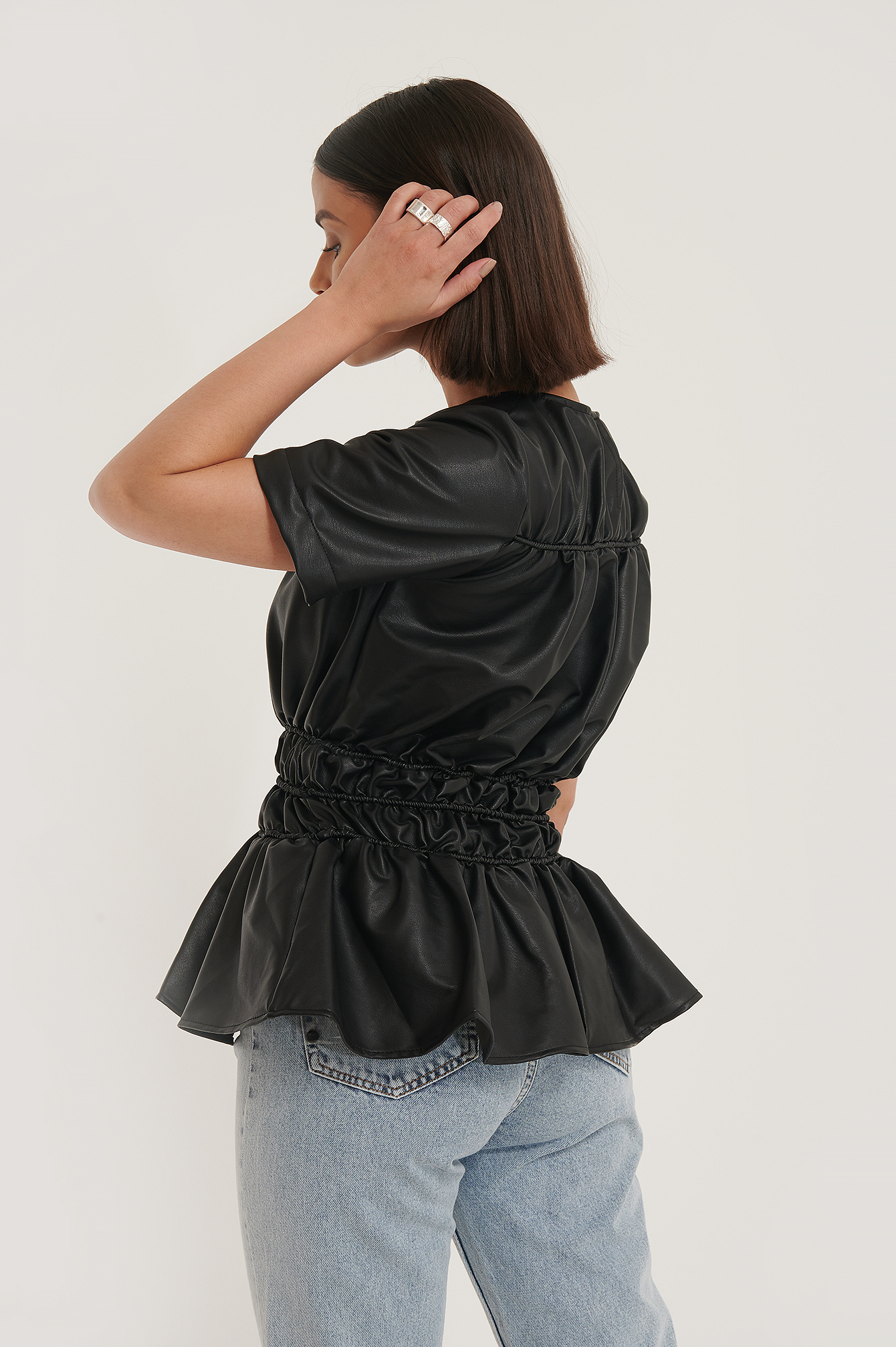 Black Shirred PU Top