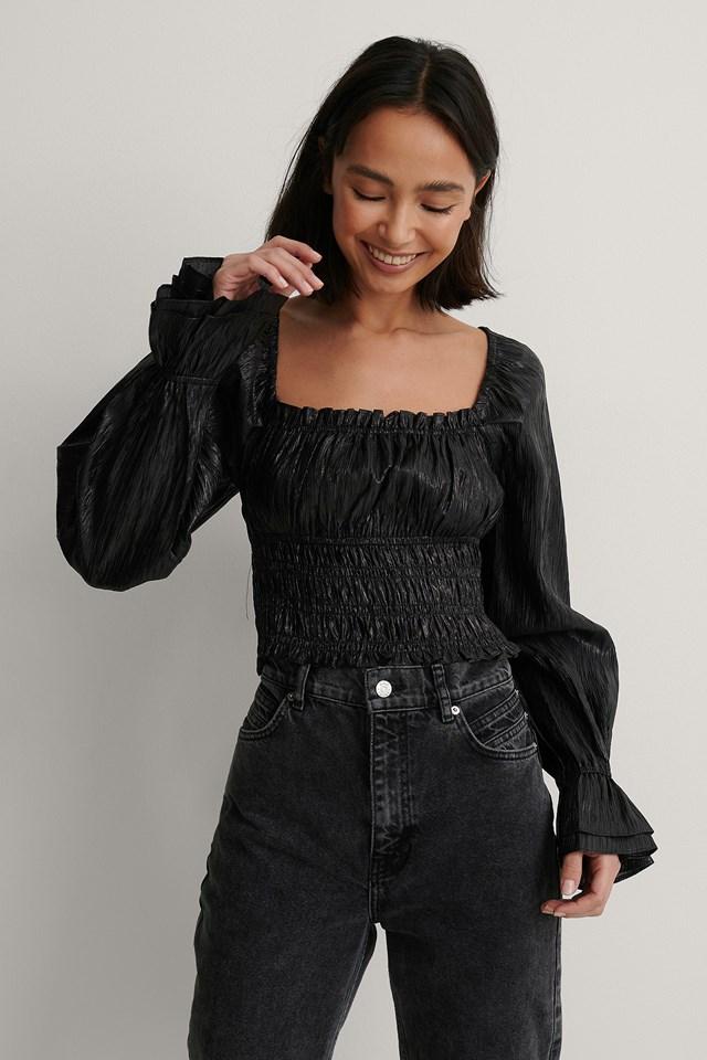 Black Shirred Structured Metallic Blouse