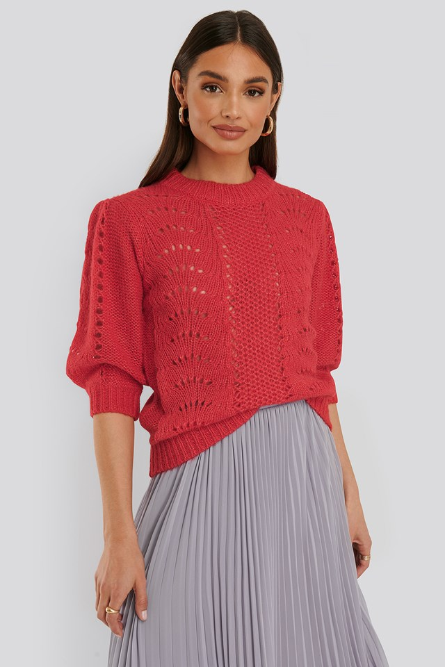 Short Balloon Sleeve Knit Red