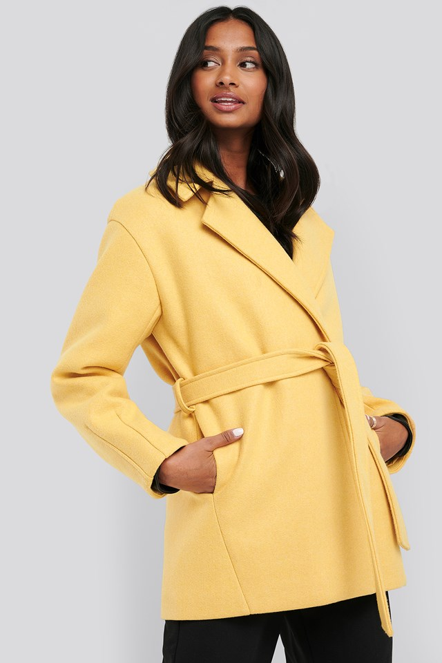Short Belted Coat Yellow