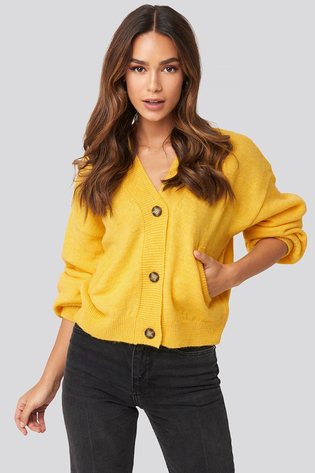 Short Button Front Cardigan Yellow
