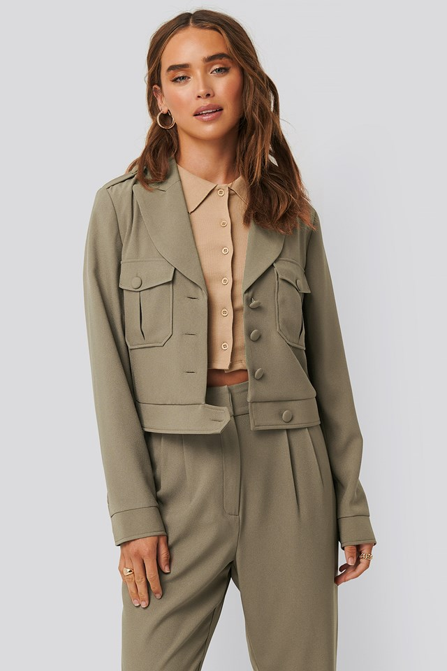 Taupe Short Buttoned Jacket