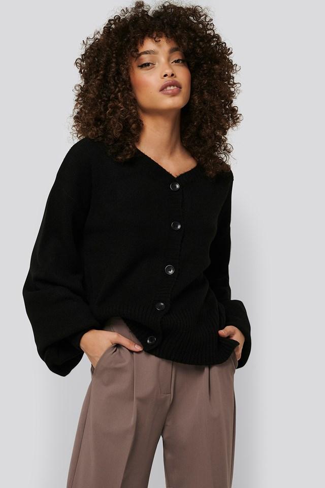 Black Short Chunky Knit Cardigan