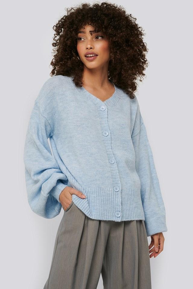 Light Blue Short Chunky Knit Cardigan