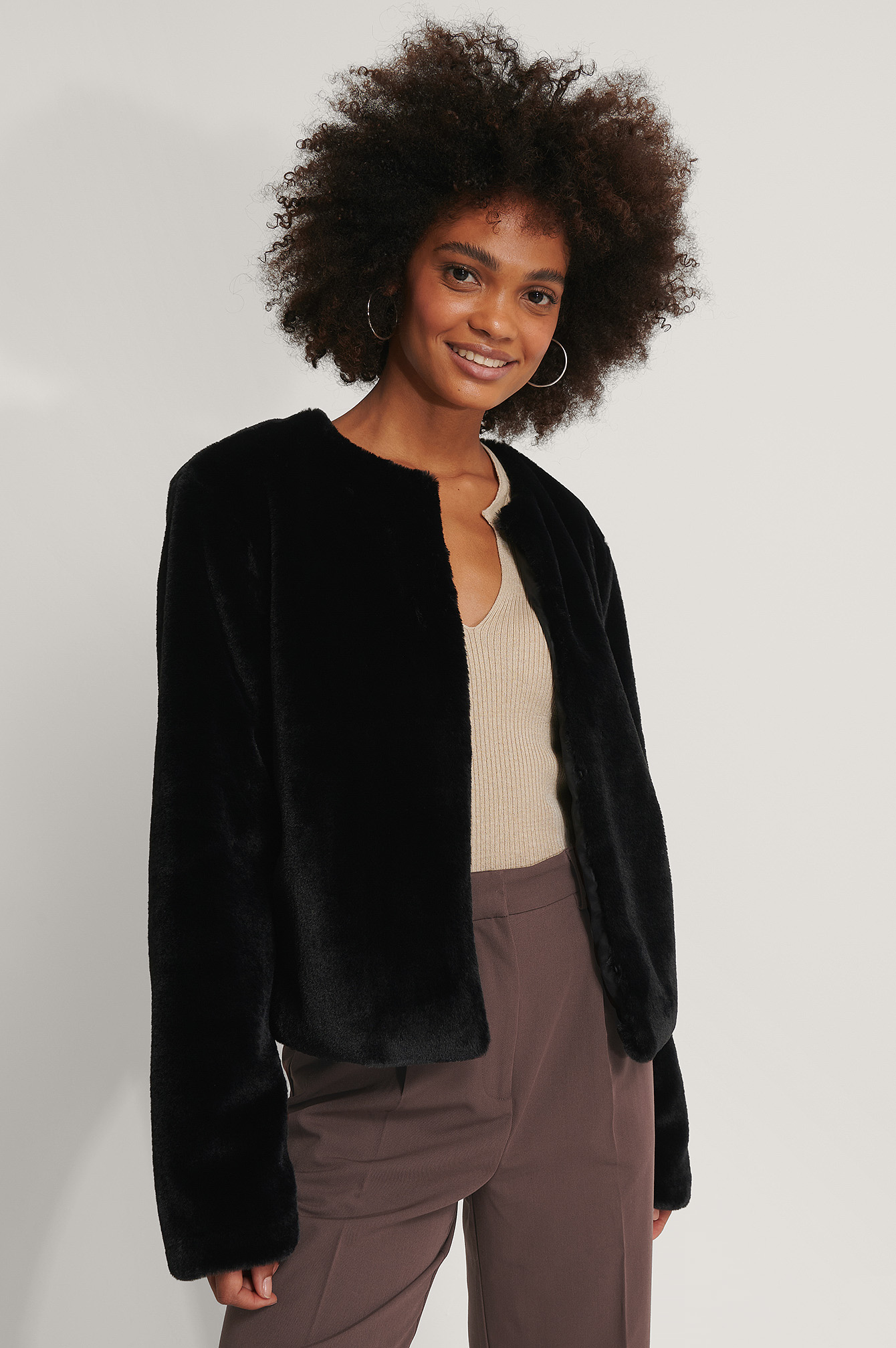 Black Short Faux Fur Jacket