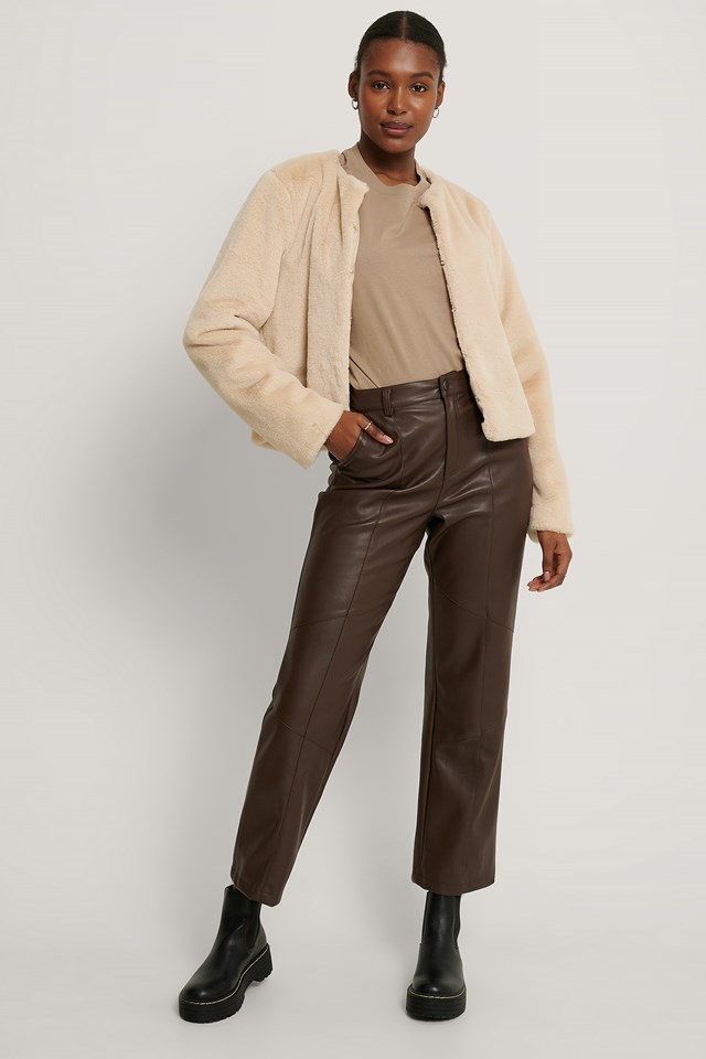 Light Beige Short Faux Fur Jacket