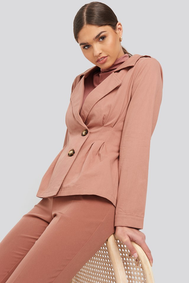 Dusty Pink Short Marked Waist Trench Coat